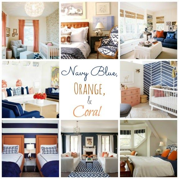 Real inspired decorating with navy blue diy home - Orange and blue decor ...