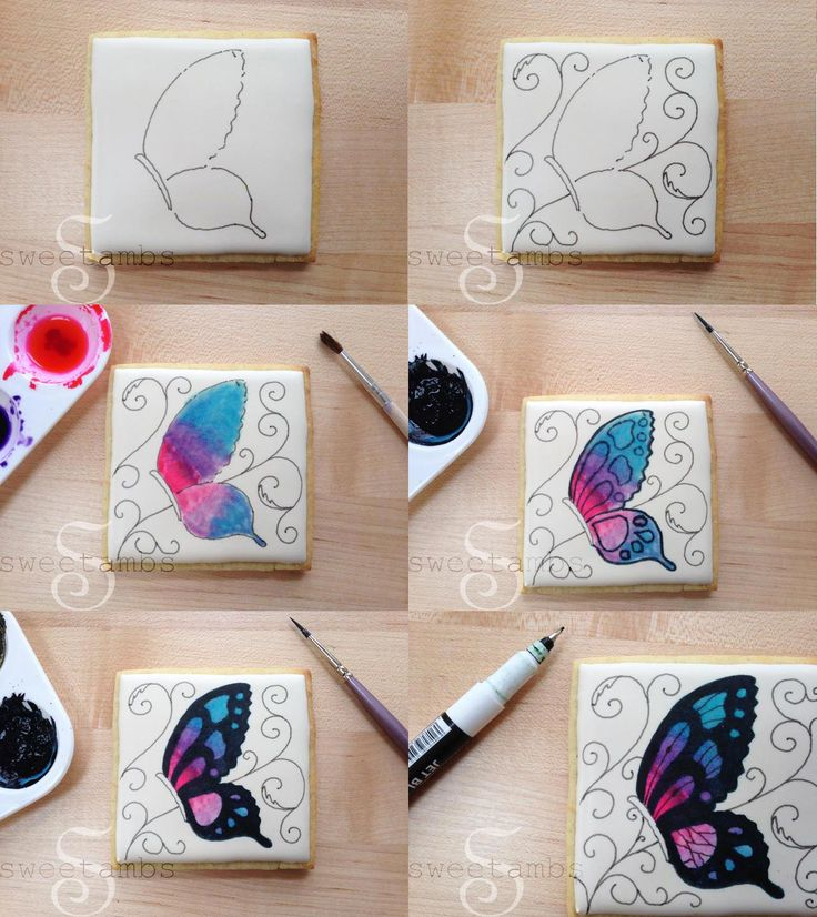 Hand painted butterfly cookies http://www.sweetambs.com/tutorial/hand-painted-butterfly-cookies/