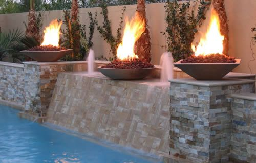 21 best pool images on pinterest backyard ideas fire for Pool fire bowls