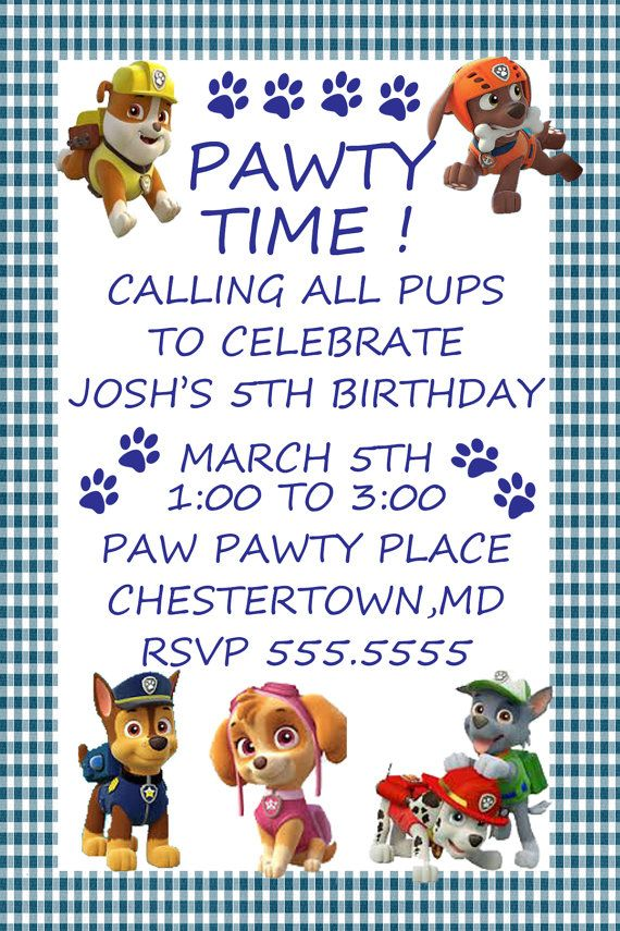 118 best paw patrol party images on pinterest for Paw patrol invitation ideas