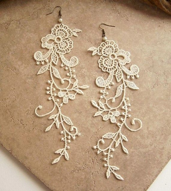 lace applique earrings - love them!: Ideas, Craft, Fashion, Style, Lace Earrings, Wedding, Jewelry, Diy, Laceearrings
