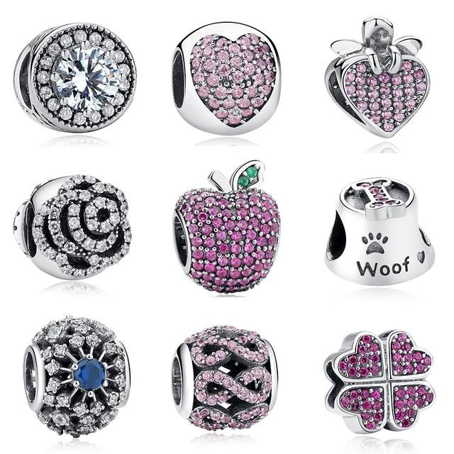 Silver Apple,Petals of Love,Heart&Bow,Wish Star Beads Charm