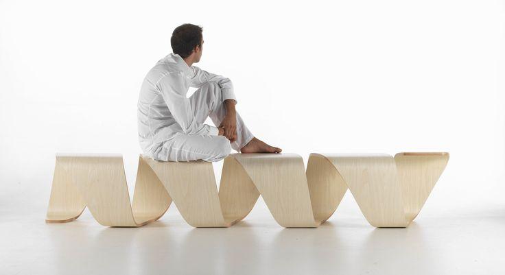 Panca indoor / moderna / in legno / in pelle - DNA by Debora Mansur & Leonardo Rossano - True Design srl