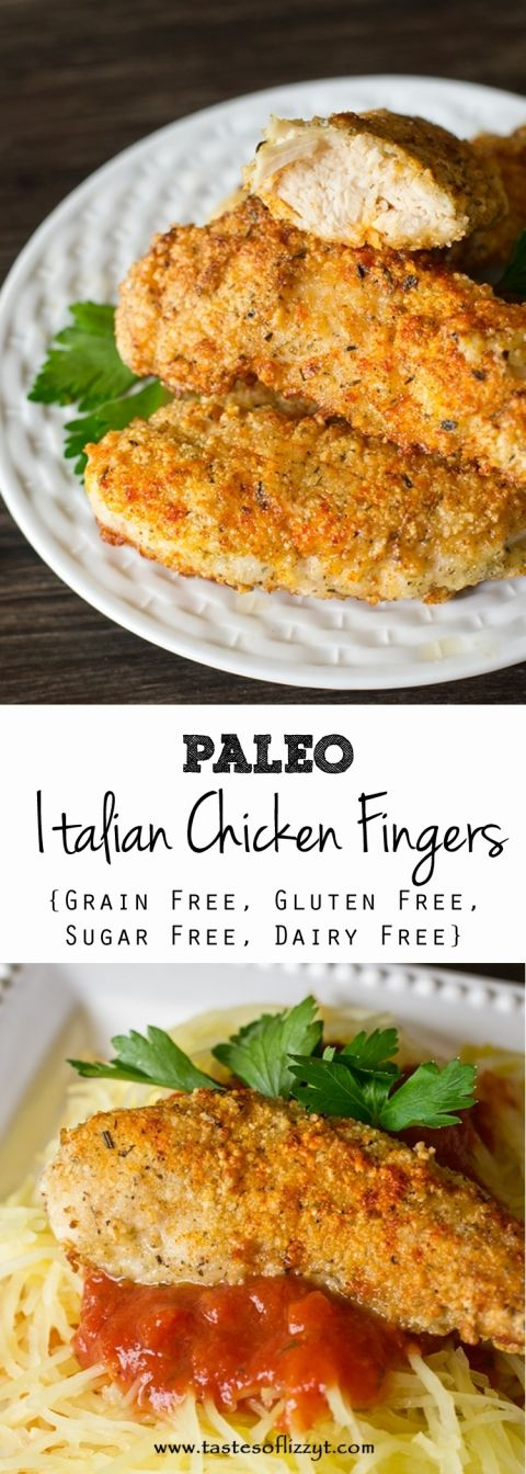These healthy, kid-friendly Paleo Italian Chicken Fingers are grain free, gluten free, dairy free and sugar free. Lightly breaded and pan fried to a golden brown.,