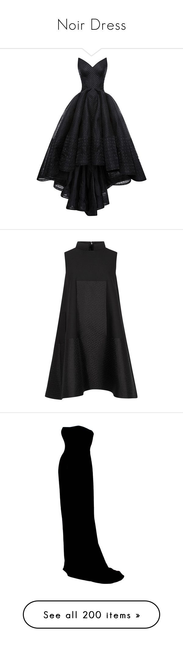 """""""Noir Dress"""" by brassbracelets ❤ liked on Polyvore featuring dresses, gowns, long dresses, vestidos, organza ball gown, bustier gown, strapless evening dresses, bustier dress, organza gown and black"""