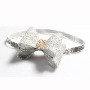 Retail silver Newborn Luxury Flower Bows Matching Glitter Headband Handmade Hard Bow Headbands For Baby Girls Hair Accessories