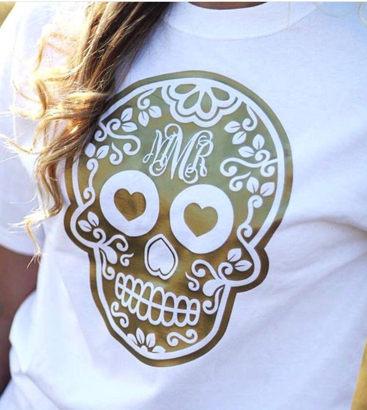 Sugar Skull T-shirt with monogram - white shirt for men, damen shirts, custom shirt printing *ad