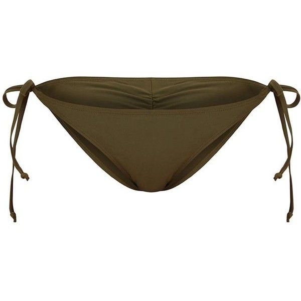 Mix Match Khaki Ruched Bum Tie Side Bikini Bottoms ($18) ❤ liked on Polyvore featuring swimwear, bikinis, bikini bottoms, swim bikini bottoms, tie side bikini, bottom bikini, ruched swimwear and scrunch bikini