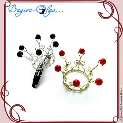 маленькая корона на заколке - золотой,серебрянный,красный,черный,белый