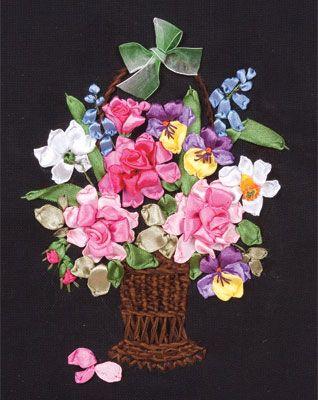 Coricamo, silk ribbon embroidery, haft wstążeczkowy, stužková výšivka, bändchenstickerei, flowers