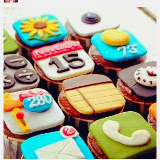 iPhone cupcakes!!:): Birthday, Ideas, Iphone App, App Cupcakes, Food, Iphone Cupcakes, Cups Cake, Iphoneapp, Cupcakes Rosa-Choqu