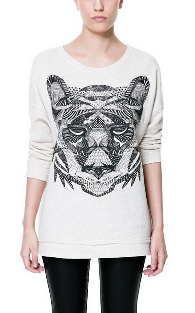 #ILIKE, Tendencia SS2013 Animal Print     CAMISETA FELPA ESTAMPADO TIGRE - Camisetas - TRF - ZARA España