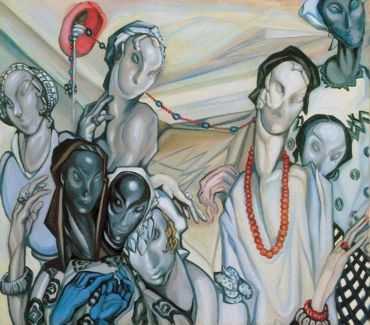 gr Battyány Gyula -  Lárvaarcúak / Larva-faces - 1934 Olaj, vászon, 75,5 x 86 cm Magántulajdon