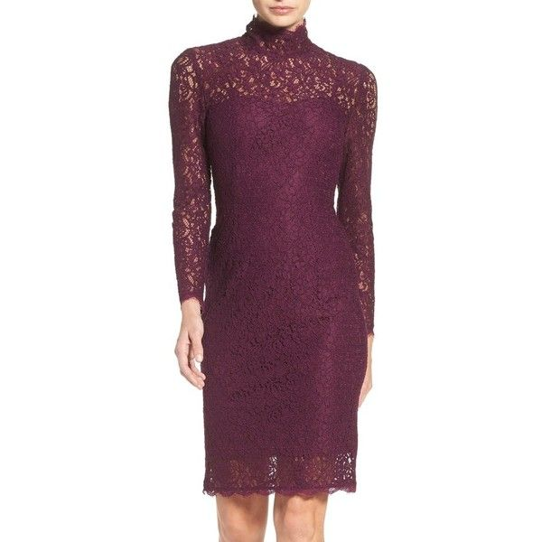 Women's Adrianna Papell Corded Lace Sheath Dress ($169) ❤ liked on Polyvore featuring dresses, mulberry, petite, purple long sleeve dress, long sleeve dress, adrianna papell dress, petite dresses and purple lace dress