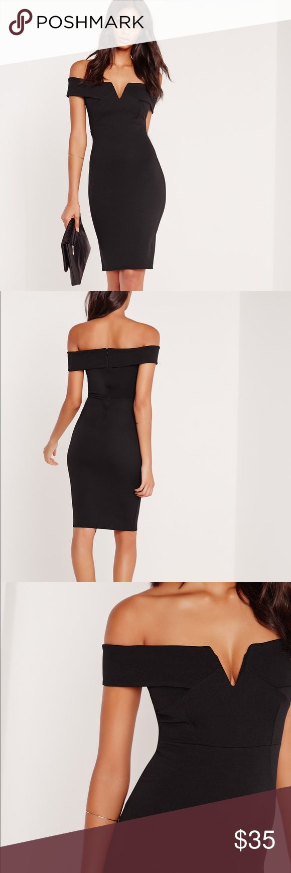 v front Bardot Midi Evening Dress - Black COMPLETELY UNWORN - US size 6 dress. Featuring a sweet bardot neckline and sexy v front. Beautiful and classy cocktail/evening dress for date or holiday party! ✨ Missguided Dresses Midi