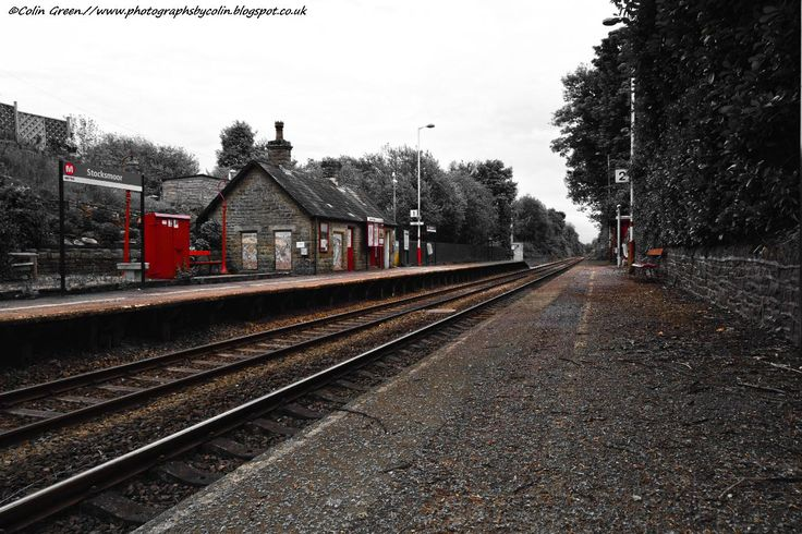 The station facilities on platform 1 at Stocksmoor Train Station, Kirklees, West Yorkshire.