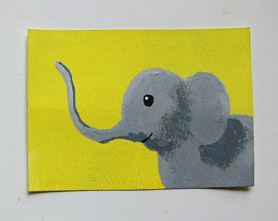 The Yellow Elephant 60 ARTIST TRADING CARDS 2.5 x by MikeKrausArt