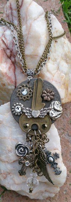 Steampunk Key Necklace Repurposed Necklace by Secret Stash Boutique, $29.00 etsy.com/shop/secretstashboutique