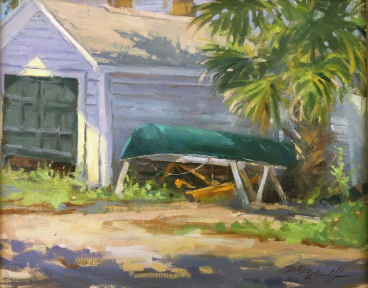 """Take Me Out Tonight"" 16"" x 20"" Available Green canoe alongside shed in Florida's Forgotten Coast"