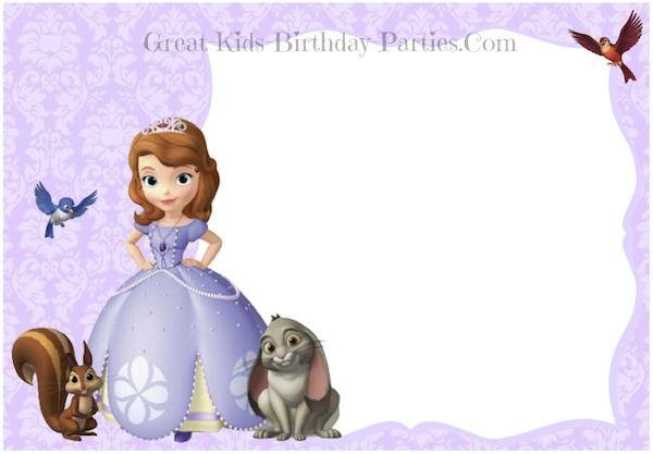 Free Printable Princess Sofia The First Birthday Invitations