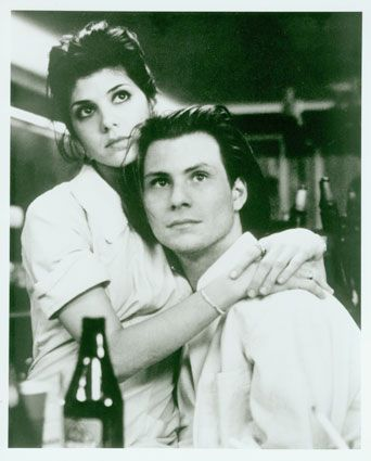 """Marisa Tomei and Christian Slater in """"Untamed Heart""""- in LOVE with this movie, and christian slater"""