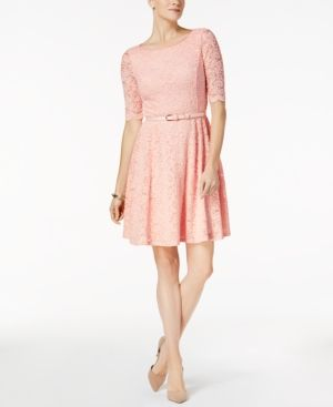 Charter Club Petite Belted Lace Dress, Created for Macy's - Pink P/XL