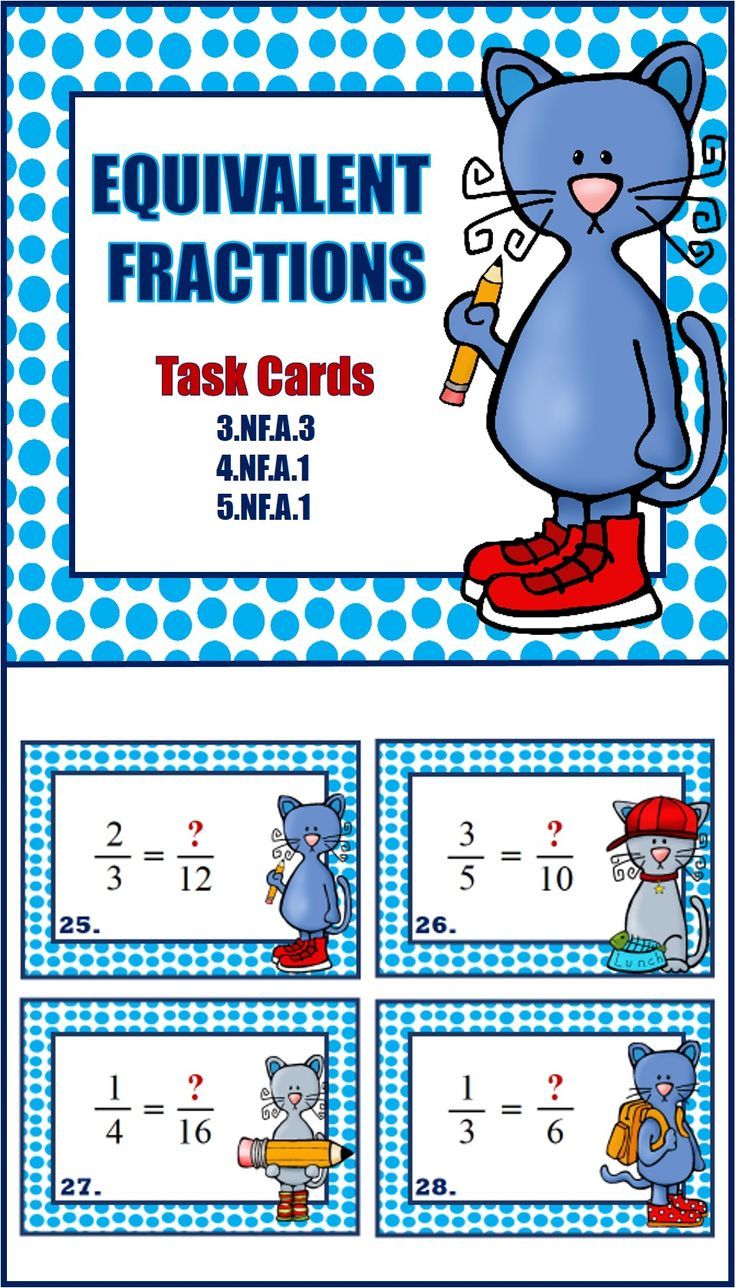32 Equivalent Fraction Task Cards grades 3-4-5
