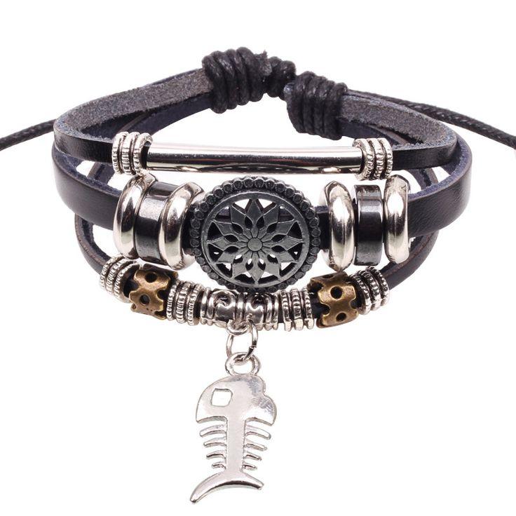 Wholesale Handmade Fish Charm Genuine Leather Adjustable Bracelet Wristband Jewelry Unisex Men Woman Freeshipping