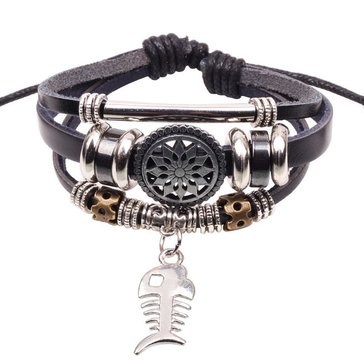 Wholesale Handmade Fish Charm Genuine Leather Adjustable Bracelet Wristband Jewelry Unisex Men Woman Freeshipping