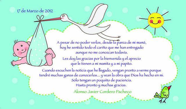 poema de gracias por acompanarnos baby shower | Baby shower agradecimientos - Imagui