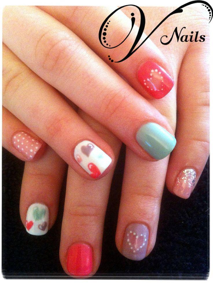 16 best gelish nail art designs freehand by v nails images on girlie valentine nail art gelish v nails prinsesfo Images