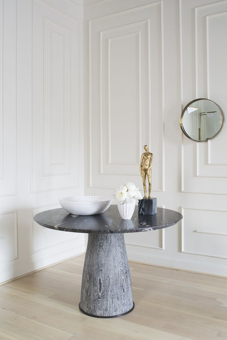 KELLY WEARSTLER   CAMDEN TABLE. Solid wire brushed cerused Wenge base and cosmic marble top