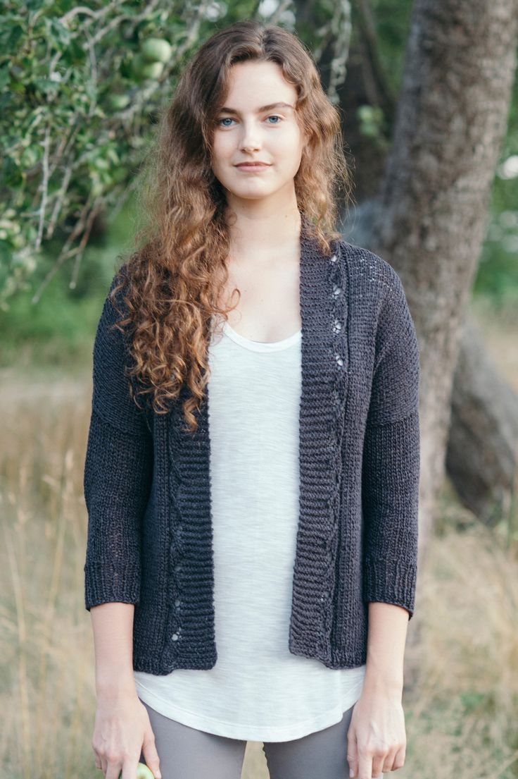 rhea by pam allen / from the linen noir collection by the quince design team, featuring 5 little black sweaters in organic linen / in quince & co. kestrel, color ash