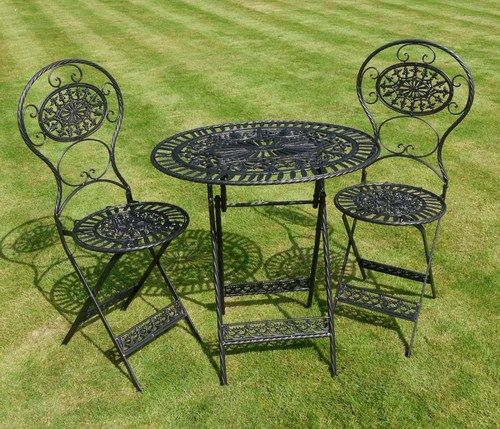Shabby chic antique garden furniture wrought iron patio set table chairs black