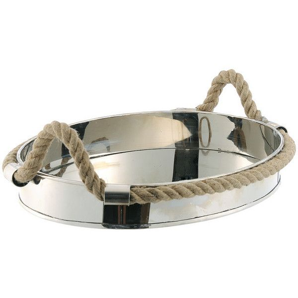 Nautical Rope Polished Silver Modern Serving Tray - Beach Style -... ❤ liked on Polyvore featuring home, kitchen & dining, serveware, home decor, silver serving tray and silver serveware