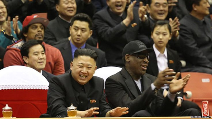 North Korea has released photographs of its leader Kim Jong-un meeting retired US basketball player Dennis Rodman.