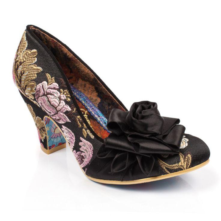 Irregular ChoiceDelightfully Floral - Sandalias con Cuña Mujer, Color Negro, Talla 40 EU