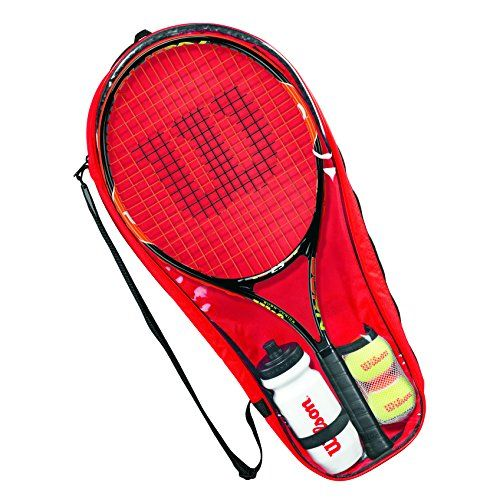 buy now   									£27.93 									  									The Wilson Burn starter tennis set has everything aspiring players need. It consists of a 25″ (635mm) racket, 2 transitional balls and a water bottle, all of  ...Read More