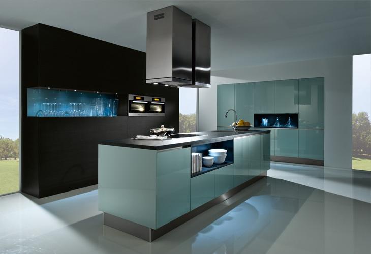 #Küche in Hellblau #Kücheninsel #Grifflosküche www.dyk360-kuechen.de