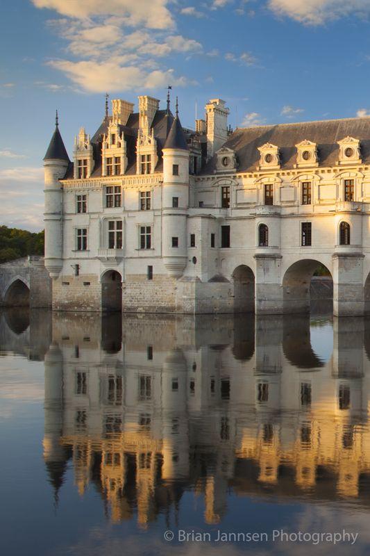 Chateau Chenonceau and River Cher, Indre-et-Loire, Centre France.