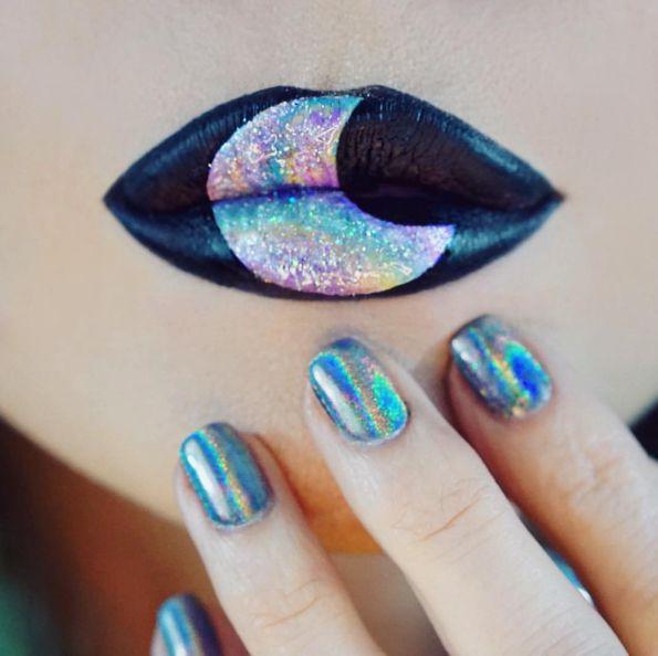 Holographic Lip Art, Holographic Nail Art, Moon Lip Art