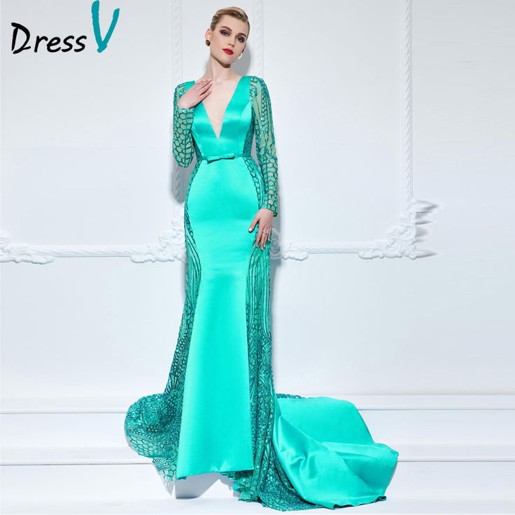 Cheap dresses dress up, Buy Quality dresses dress up games directly from China dress up girls dresses Suppliers:           Dressv Blue Green V-neck mermaid long evening dress long sleeves sequins trumpet bowknot celebrity dress forma