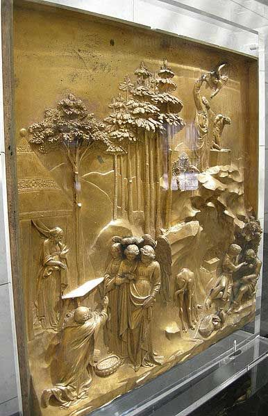 The story of Abraham. (w)This fantastic detail from the gates of paradise gives us an insight into the skill and craftsmanship displayed by Ghiberti in his creation of these panels.