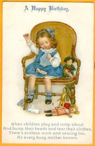 """Busy Mother"" birthday card  postcard, Susan B. Pearce 1914*"