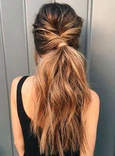 Messy twisted ponytail inspiration. Cute casual hairstyle ideas. #cuteUpdos
