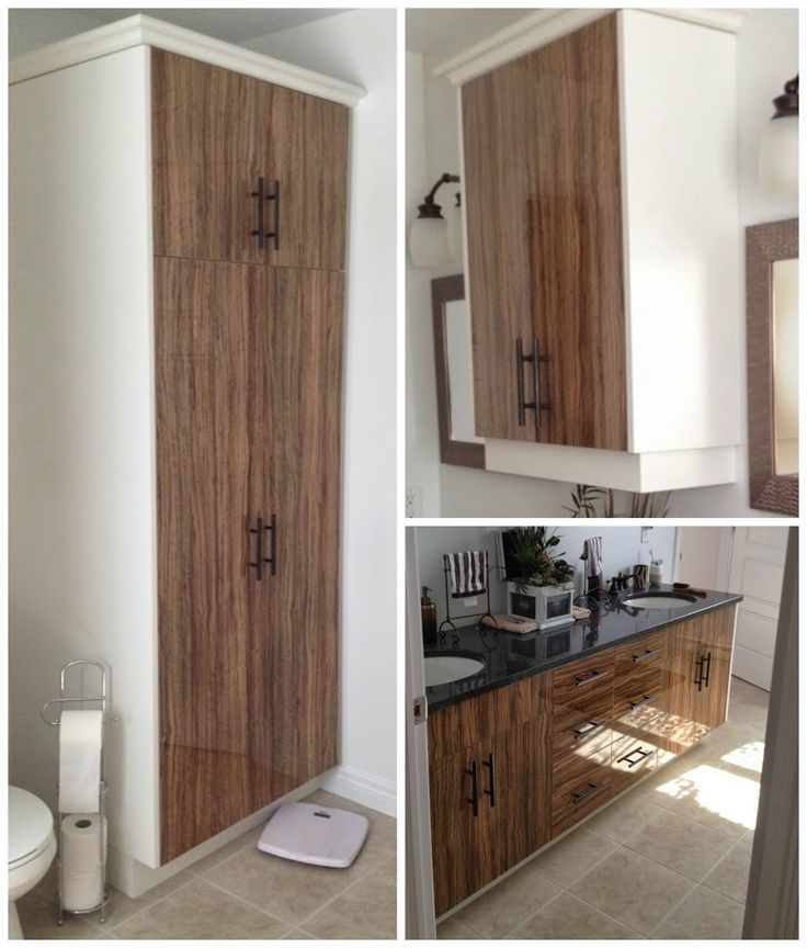 Spectacular Custom Vanity and Linen Tower by @progressivecabinets!