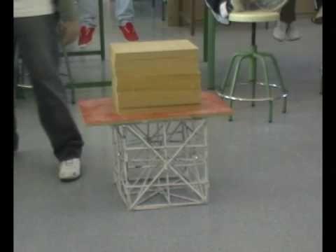 Se trata de crear una estructura cúbica que sea capaz de soportar en máximo peso posible. En este vídeo se presenta la prueba de carga. Más información en el...