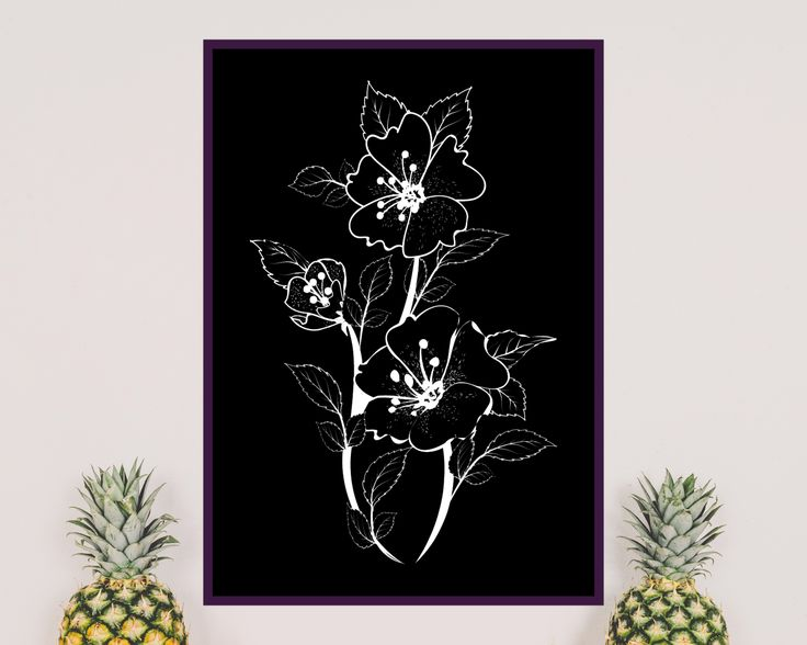 Item details Shop policies Spring, scandinavian, elegant design, white flower on black background Ideal to decorate your home, living room, home office, nursery.  You are purchasing a digital files only (one pdf and one jpg).