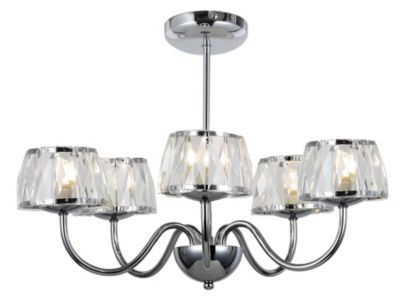 Waldorf 5 Light Semi Flush Glass Faceted Shades, £69.98