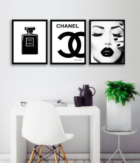 Chanel Black Perfume Bottle Print, Chanel Logo, Coco Noir Paris Perfume Bottle, Coco Chanel, Fashion Black Makeup Wall Art, SETfashion3